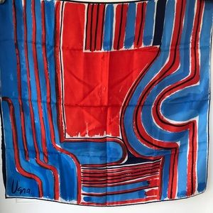 Vintage Vera abstract red white blue square scarf